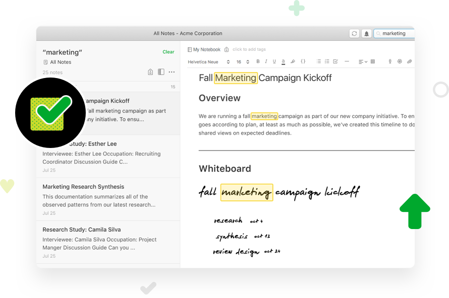 Screenshot image, depicting Evernote PDF search capabilities, including the ability to search images for handwritten text