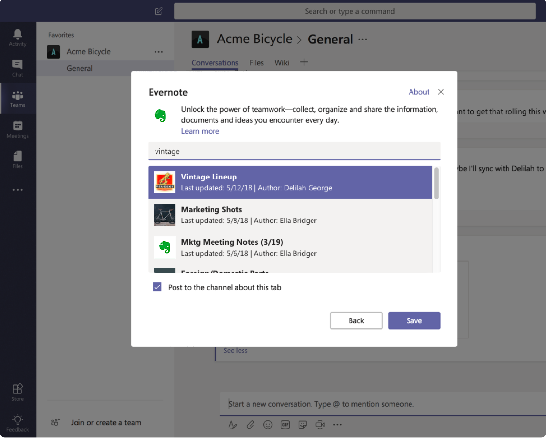 Screenshot image of Evernote integration for Microsoft Teams